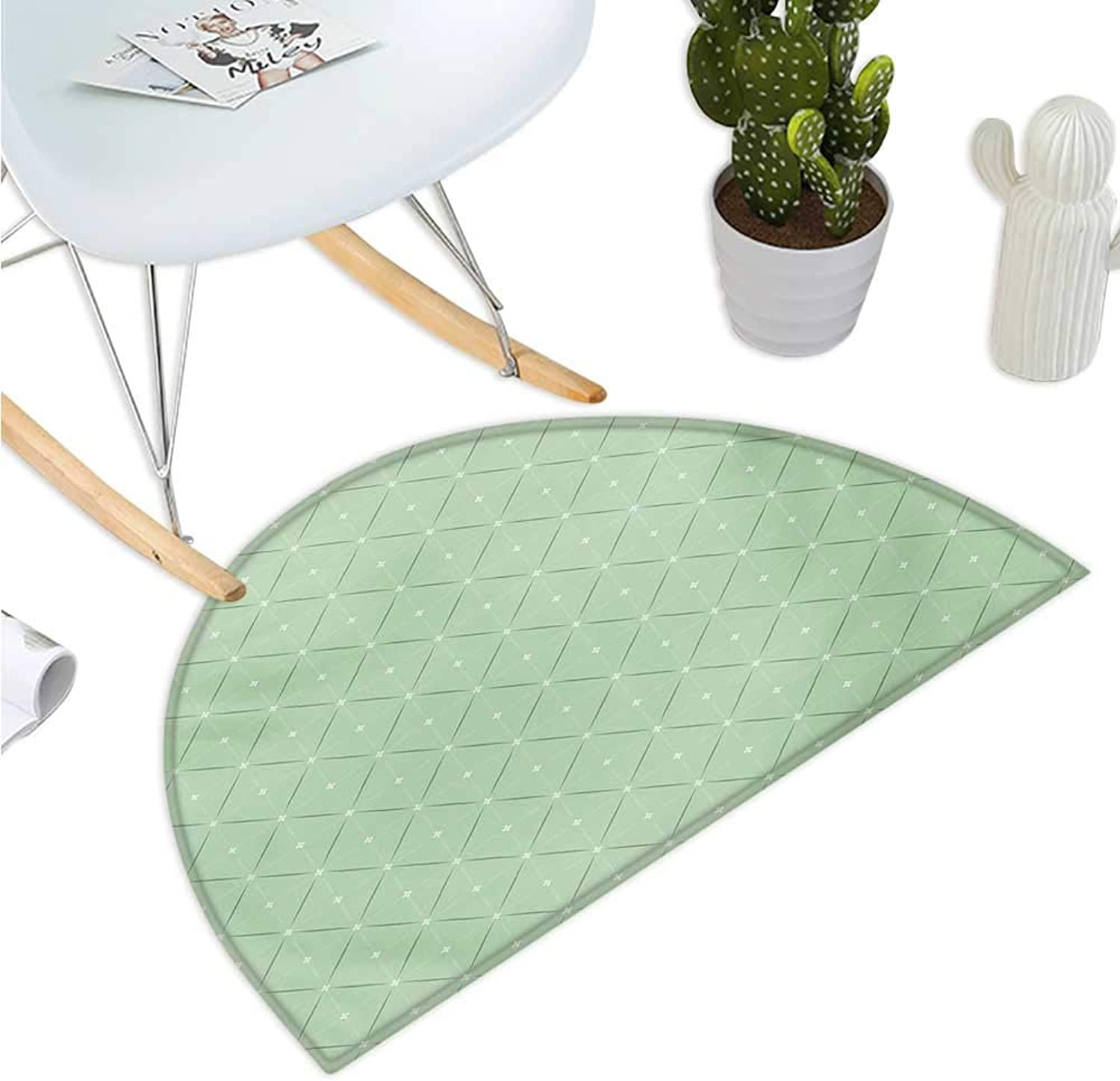 Abstract Semicircular Cushion Rhombus and Squares Pattern with Stripes and Flowers Geometric Arrangement Halfmoon doormats H 51.1  xD 76.7  Pale Green White