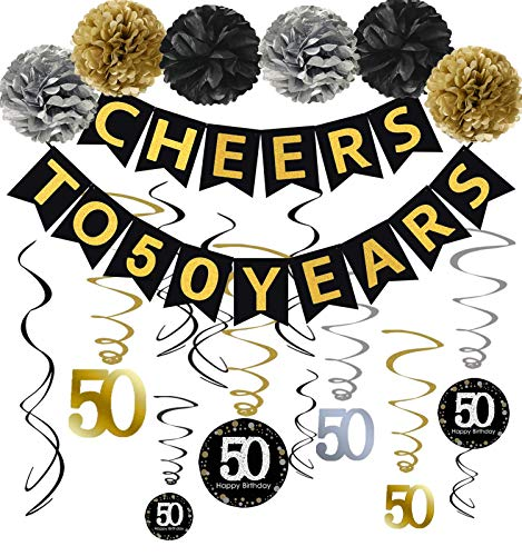 Famoby 50th Birthday Party Decorations Kit - Gold Glittery Cheers to 50 Years Banner,Poms,12Pcs Sparkling 50 Hanging Swirl for 50th Birthday Decorations 50 Years Old Party Supplies
