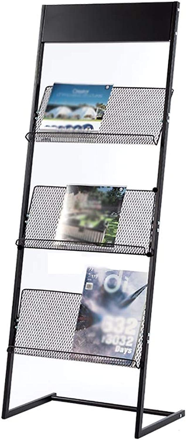 Simple Magazine Rack, Iron Newspaper Rack, Creative Material Rack, Floor-Standing Brochure Display Stand, Single-Page Display Rack == (Size   47 × 30 × 126cm)