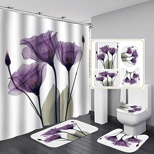 TREEMEN Cortina de Ducha Impermeable Tulipán de Impresión Digital 3D,Cortina de Ducha de Partición de Baño de Alta Gama/Juego de...