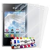 3 Protecciones de Pantalla transparentes para LG L3'UltraClear' Originales de MUZZANO de Calidad PREMIUM - Tratamiento Anti-rayado, Anti-rastro y Anti-polvo + De regalo 1 ESTILETE + 1 PAÑO MUZZANO