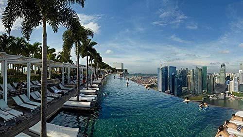 RHUK Puzzle 1000 Stück Holz Marina Bay Sands Infinity-Pool Schwimmbad Kinderspiel Kunst Dekoration Geschenk Landschaft
