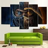 LIVELJ Mortal Kombat Sub Zero 5 Piezas de Arte HD Cuadro Moderno Marco Pintura sobre Lona impresión,Listo para Colgar Hogar Decoracion Marco 150x80cm