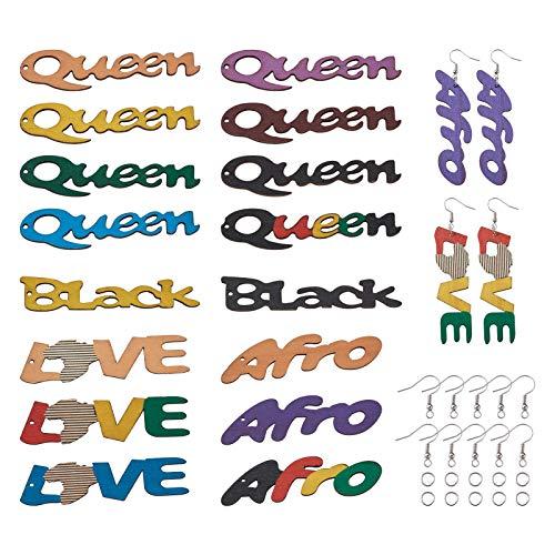Cheriswelry 96 colgantes africanos de madera para pendientes grandes de reina negra con palabra afro y texto en inglés 'Love'