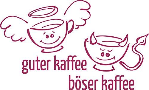 GRAZDesign Küche Aufkleber Guter Kaffee - Böser Kaffee - Küchenbilder Lustiges Motiv - Wandtattoo für Küche Engel Teufel Tassen / 50x30cm / 821 Magnolia
