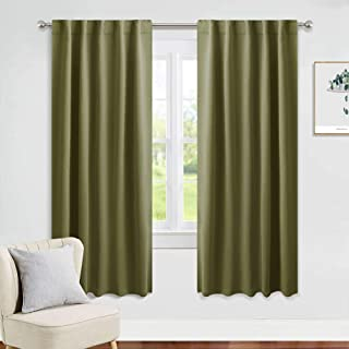 PONY DANCE Light Blocking Panels - Blackout Window Drapes Room Darkening Thermal Insulated Curtains for Living Room Xmas Home Decor with Back Tab, 42 Wide x 63 Long, Olive Green, Set of 2