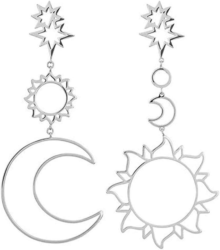 D.Rosse Women Fashion Boho Asymmetrical Hollow Star Sun Moon Drop Dangle Earring Jewelry