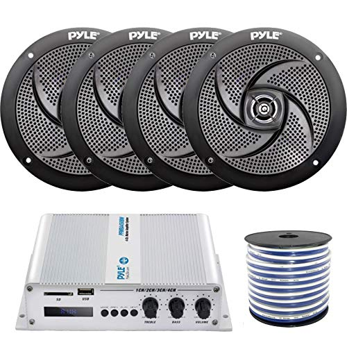 "Enrock Marine 4 x Pyle 6.5"" Marine 2-Way 240W Outdoor Black Stereo Speakers, Pyle 4-Channel Bridgeable Compact Boat Yacht Waterproof 400W RMS Amplifier, Grade 18-Gauge Speaker Wire"