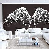 Fotomural Vinilo Para Pared Alas De Gota De Agua Blanca Pegatina Mural 3D Paneles Decorativos Wallpaper Extraíble Impermeable Decor De Hogar Cocina Salón Moderna 300X210Cm