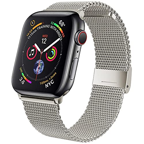 Ternzun Strap For Apple watch Band 42 mm 38mm Stainless steel Metal belt correa magnetic loop bracelet for iWatch series 5 4 se 6 40mm 44mm (38 or 40 mm,Gray)
