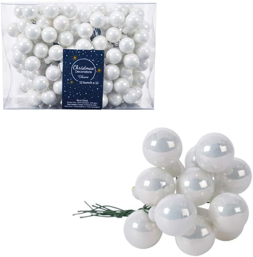 12 2.5cm Winter White Glass Floristry Berry Picks Christmas for Limited time trial price Max 54% OFF