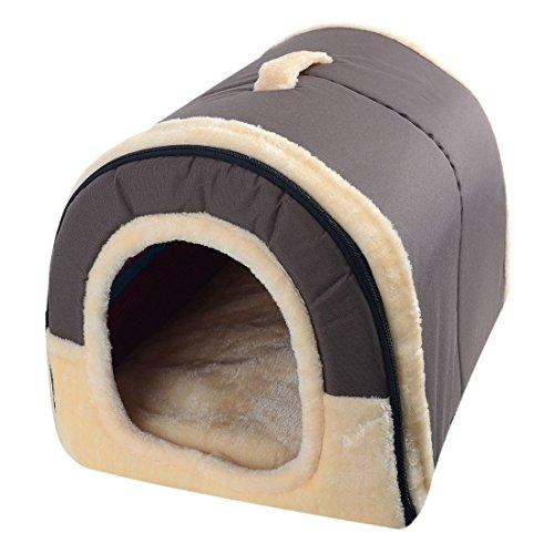Enerhu Cama del Perro Gato Mascota 2 en 1 Casa y Sofá para Mascotas Plegable Suave Invierno Leopardo Cueva Casa de Perro Lindo Perrera Nido Gato Cama del Perro Gris Oscuro M