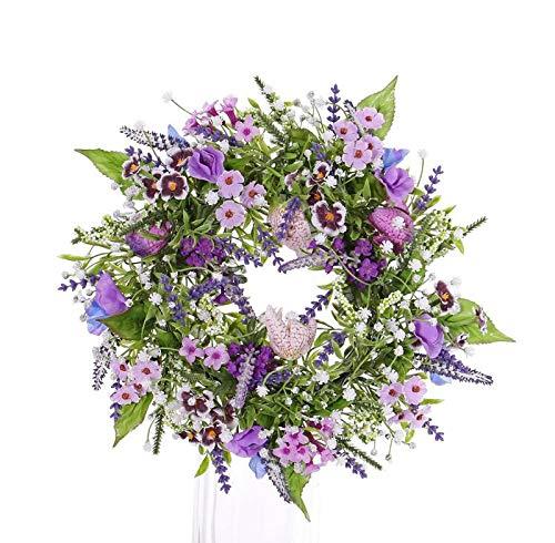 artplants.de Künstlicher Sommerkranz Fedora, Lavendel, Lathyrus, lila, Ø 30cm - Türkranz - Tischkranz
