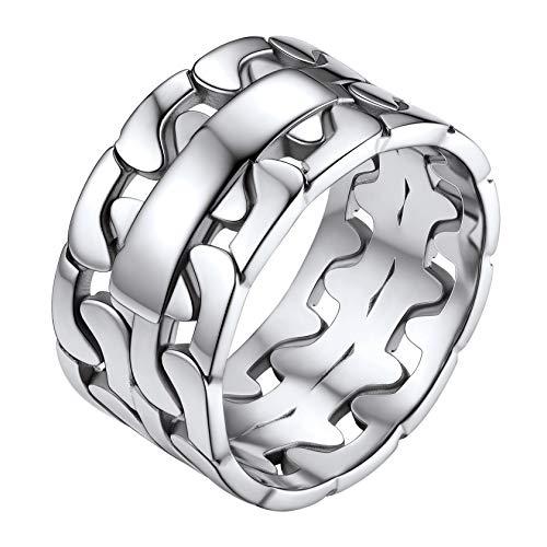 ChainsHouse Edelstahl herren Fingerring 11mm breit Panzerkette Ring Partnerring Freundschaftsring Cuban Chain Fingerring Vintag Ring für Punker Hip pop Sänger Model