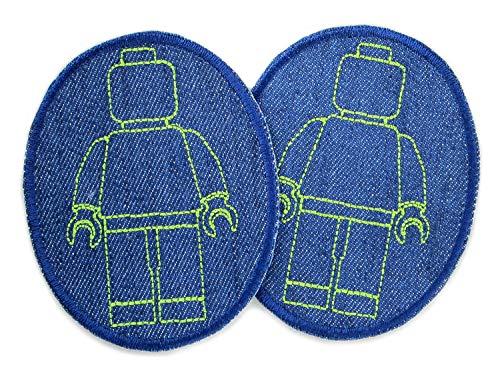 Set 2 Knieflicken Jeans Legomännchen, 8 x 10 cm, Patch Jeansflicken Hosenflicken zum aufbügeln