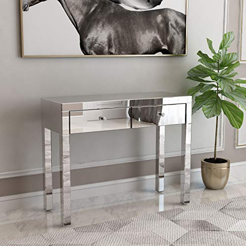 Mecor Mirrored Console Table Occasional Sofa Side Table with 2 Drawers Silver Entry Table Vanity Makeup Dressing Table for Entryway/Hallway/Living Room