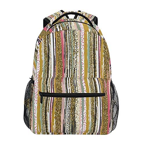 Mochila de rayas texturizadas con purpurina dorada para adultos y adolescentes para el hombro, mochila de viaje de negocios, trabajo y computadora