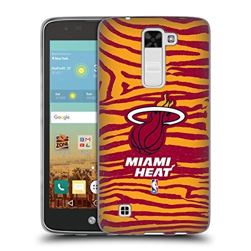Oficial NBA Estampado Animal de Cebra Miami Heat 3 Carcasa de Gel de Silicona Compatible con LG K7 K330 / Tribute 5