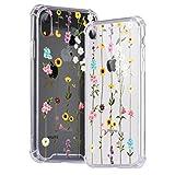 Idocolors Kompatibel mit iPhone 7/8 Hülle Durchsichtig mit Wildflowers Muster Transparent Case Hybrid Rundumschutz (Hart Plastik + Weich TPU Bumper) Dünne Stoßfeste Schutzhülle Handyhülle Cover