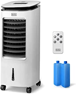 Black+Decker – BXAC7E Ventilador Humidificador y Purificador. Climatizador. Control remoto. Oscilación. 3 velocidadesy modos. 7L. 2 contenedors de hielo. Aire 234m3/h. Blanco
