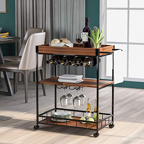 Flieks 3 Tiers Kitchen Serving Trolley with Wine Rack, Industrial Vintage Style Wood Metal,Kitchen Serving Cart with Removable Tray,Universal Casters with Brakes, Leveling Feet, Rustic