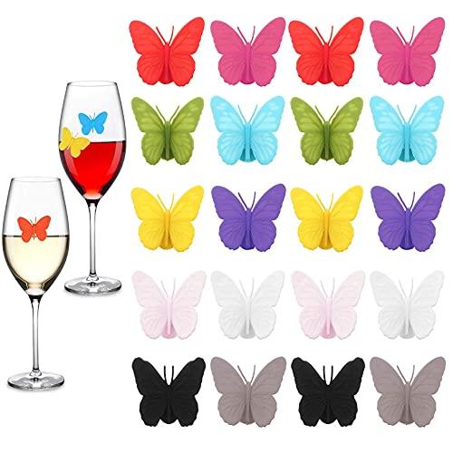 Lostwry Marcatori per Bicchieri di Vino, 20pcs Segnabicchieri in Silicone per Feste Etichette in Vetro in Silicone Riutilizzabile Pennarelli per Bicchieri di Vino per Bar Party