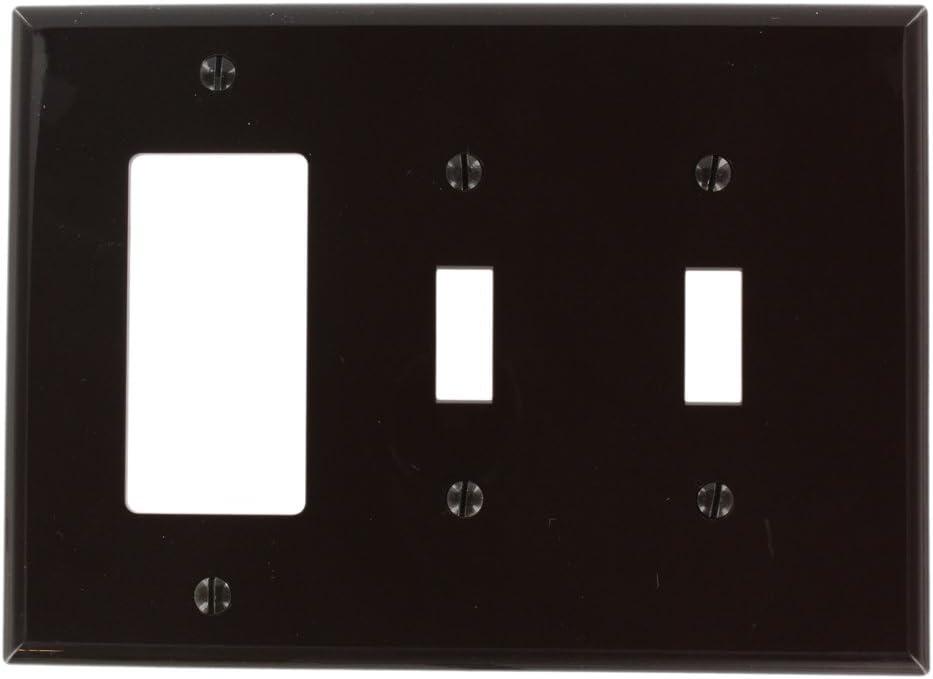Leviton PJ226-W 3-Gang 2-Toggle 1-Decora//GFCI Combination Wallplate Midway Size White 1