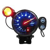 """KKmoon Tacómetro 3.5 """" Azul LED Medidor de 11000 RPM con Luz de Cambio Ajustable + Motor paso a paso Negro"""