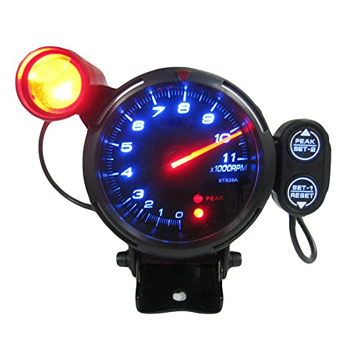 KKmoon 3.5' Tachometer Gauge Kit Blue LED 11000 RPM Meter with Adjustable Shift Light+Stepping Motor Black
