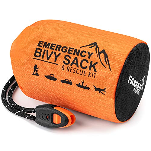 Emergency Sleeping Bag Bivy Sack Rescue Kit Compact Lightweight Multi-Functional Durable Mylar Shelter Paracord Drawstring Ultralight Life Saving Snow Storm Backpack Car Cabin Boating Home Survival