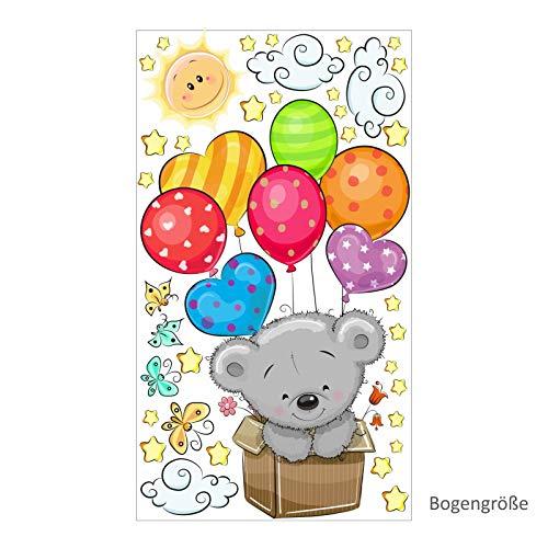 076 Muursticker Teddy in doos Ballon Kinderkamer Sticker * Nikima * in 6 Vers. Eenvoudig aan te brengen en te verwijderen.