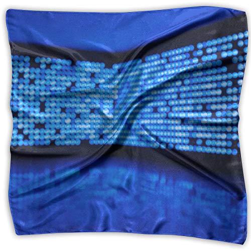 Uridy Led Wall Dots Glare Blue Women 'S Impreso Pañuelo Cuadrado Tocado Cuello Bufandas De Satén Wrap Chal...