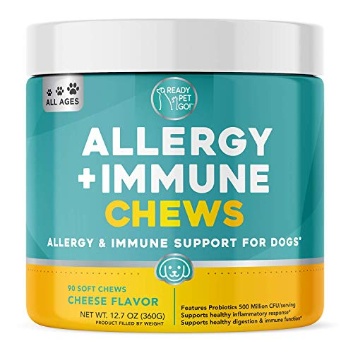 Ready Pet Go! Allergy Immune Supplement for Dogs with Itch Relief & Allergy Relief | Omega 3 for Dogs + Probiotics for Dogs | Anti Itch | Hot Spots | 90 Vitamins for Dogs