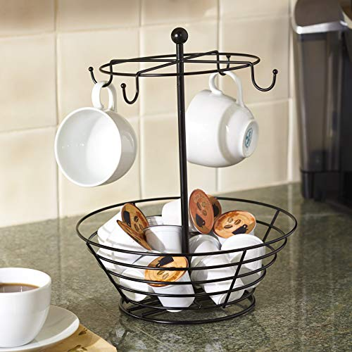 Nifty Coffee Pod & Mug Carousel – Holds 4 Cups, Capsule Storage, Spins 360-Degrees, Lazy Susan Platform, Modern Black Steel, Home or Office Kitchen Counter Organizer