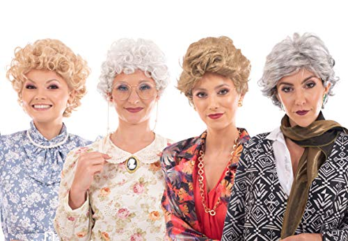 The Golden Girls Complete Costume Wig Set | Synthetic Hair Fibers Cosplay Wigs | Includes 4 Unique Wigs, Dorothy, Sophia, Rose, Blanche | Look Just Like Your Favorite Golden Girl | Sized for Adults