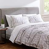Rivet Modern Ikat Duvet Cover Bedding Set, 100% Cotton, Easy Care, Full / Queen, Grey