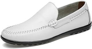 メンズレザーシューズ、メンズブリティッシュビジネスカジュアルシューズ、レジャー通気性怠惰靴、フォーマルなビジネスワークス快適なモカシン、ドライビングシューズ (Color : 白, Size : 45)