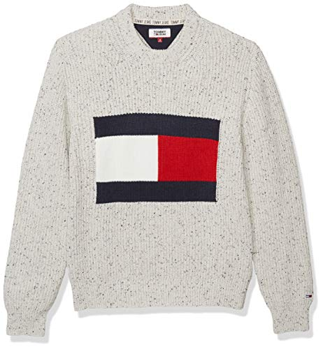 Tommy Hilfiger Tommy Jeans Men's Flag Sweater, Pale Grey Heather/Multi, M