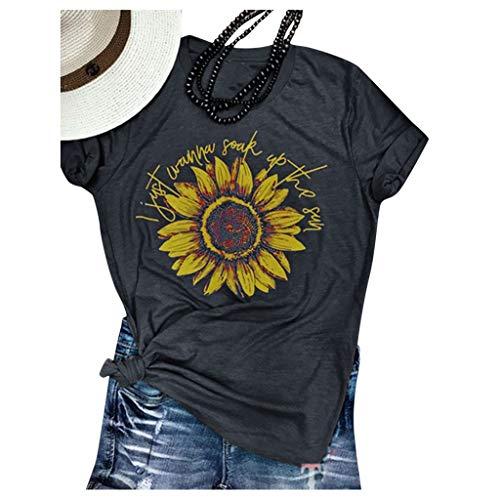 Innerternet Damen T Shirt Sommer Kurzarm Roundhal Ausschnitt Oberteil Tops Sunflower Blumedruck Freizeitshirt Basic Tops Tunika Classic Blusen Tops große Größe Bequem Tee Tops