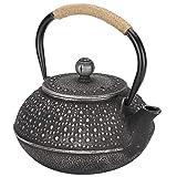 Tetera de hierro fundido de 0,8 l, imitación de estilo japonés, patrón de concha de tortuga plateada sin recubrimiento...