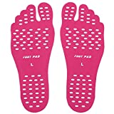 KENROLL Barefoot Adhesive Foot Pad Invisible Shoes, Waterproof Anti-Slip Design for Pool Beach Insole Spa Park Hypoallergenic Adhesive (M:Length 9.06 inch/Adult 4-6.5 US, 5 Pairs-Rose red)