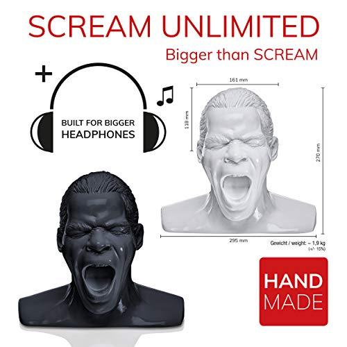 Oehlbach Scream Unlimited - Kopfhörerständer in Form des legendären Oehlbach-Kopfes - Optimale Aufbewahrung von größeren Over-/On-Ear Kopfhörer Handmade - weiß