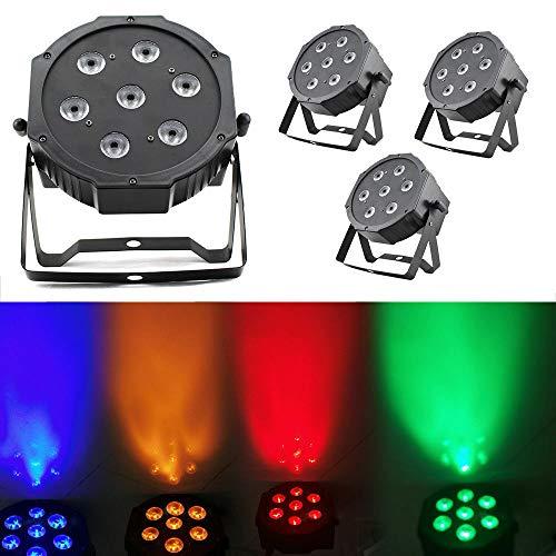 4 Stück Scheinwerfer mit 7 LED YUNRUX 4 in 1 RGBW Strahler 75W Discolicht DJ Strobe Light Led Bühnenbeleuchtung Lampe PAR 64 Bühnenbeleuchtung DMX 512 Lichteffekt für DJ Disco Stage Party