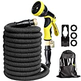 AQSURE 25FT Garden Hose Expandable No-Kink Patio Hose with Heavy Duty Triple Latex Pipe, 3/4' Solid Brass Fittings with 9 Spray Patterns for Car, Patio Washing (Spray Nozzle & Hook Included)