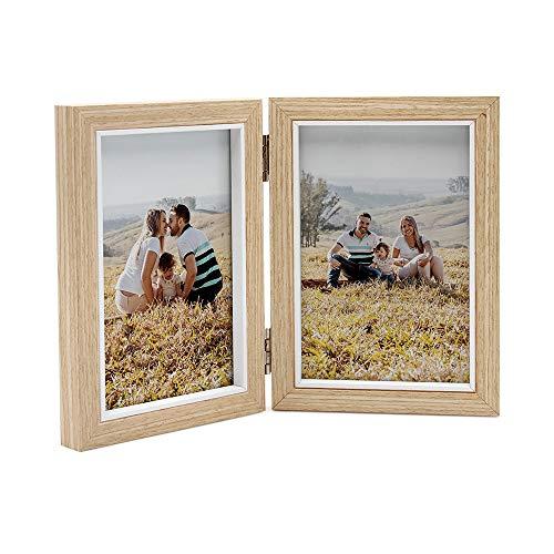 Afuly 10 x 15 Holz Bilderrahmen 2 Fotos Doppel Collage Fotorahmen Natur Farbe Portraitrahmen Beige