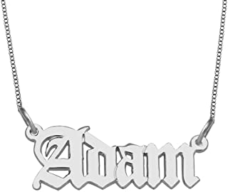 925 Sterling Silver Personalized Name Necklace with Old English Style Custom Made with Any Names