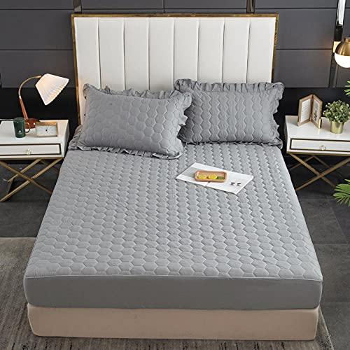 XGguo Protector de colchón - Protector de colchón antialérgico Sábana Impermeable de una Sola Pieza a Prueba de orina y Transpirable-9_200x200cm + 25cm
