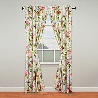 WAVERLY POM POM PLAY SPA BLUE LAYERED//STRIPED TICKING BUTTONS Valance Curtains!!