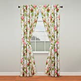 Waverly Emma's Garden Rod Pocket Curtains for Living Room, Double Panel, 84' x 100', Blossom