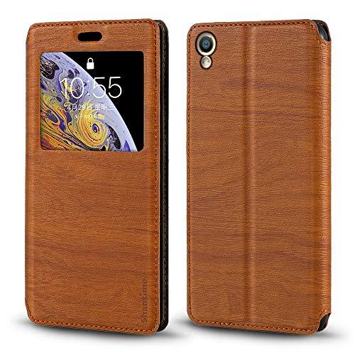 Oppo F1 Plus Hülle, Holzmaserung Leder Hülle mit Kartenhalter & Fenster, Magnetisch Flip Cover für Oppo R9